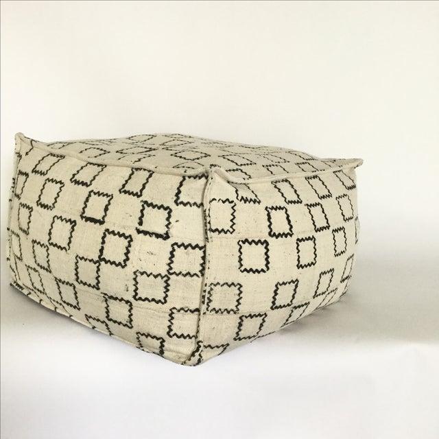Block Printed Mud Cloth Ivory Pouf - Image 2 of 4