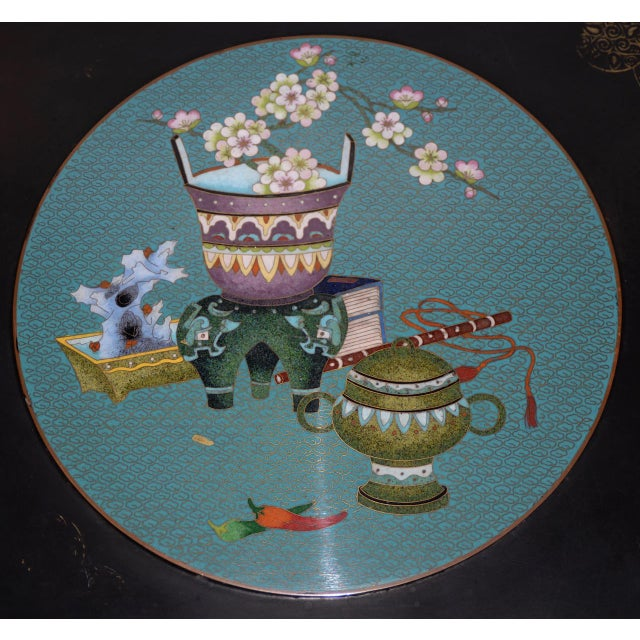 1940s 1940s Vintage Black Lacquer & Turquoise Blue Cloisonne Chinese Coffee Table For Sale - Image 5 of 8