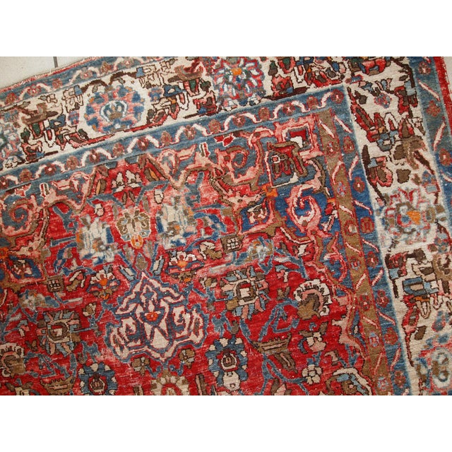 1900s, Handmade Antique Persian Mahal Distressed Rug 4.6' X 6.5' For Sale In New York - Image 6 of 10