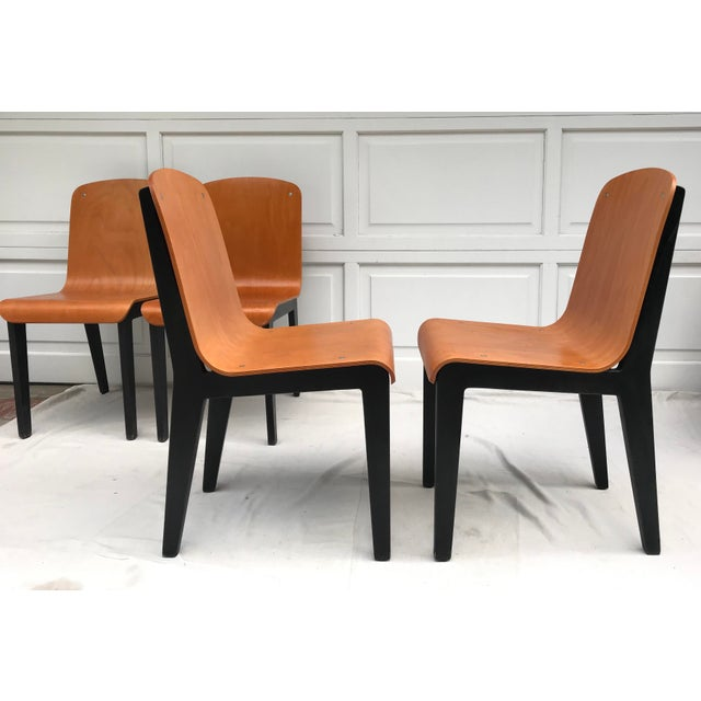 Black Vintage Rounded Bent Plywood Chairs - Set of 5 For Sale - Image 8 of 9
