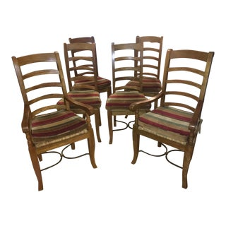Ladderback Solid Teak Chairs With Wrought Iron Base - Set of 6