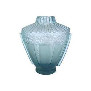 Art Deco Daum Geometric Etch Glass Vase For Sale