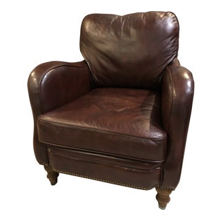 Early 21st Century Sam Moore Leather Arm Chair For Sale