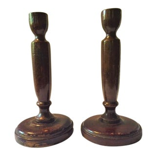 Rustic Wooden Candlestick Holders - a Pair For Sale