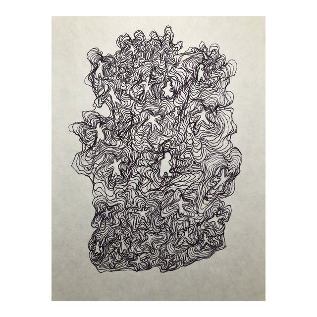 1991 Ink Abstract Drawing by William Glen Davis For Sale