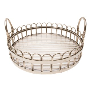 Godinger Silver-Plated Round Serving Tray For Sale