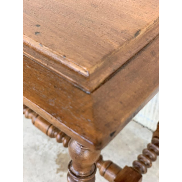 Wood Spanish Baroque Side Table With Wood Stretcher and Carved Top in Walnut For Sale - Image 7 of 13