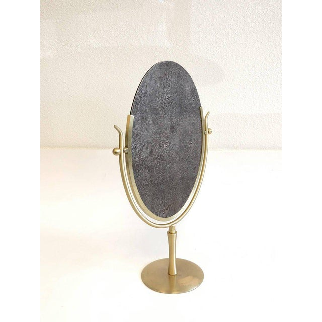 Satin Brass and Leather Vanity Mirror by Charles Hollis Jones For Sale - Image 9 of 11