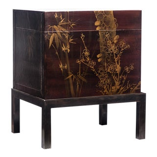 Lawrence & Scott Hand-Painted Mahogany Brown Leather Box on Handcrafted Brass Stand For Sale
