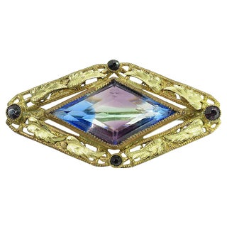 Edwardian Rainbow Iris Glass Brooch, C. 1910 For Sale