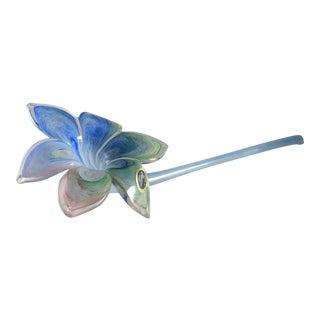 Tall Murano Italy Art Glass Blue Pink & Green Long Stem Flower For Sale
