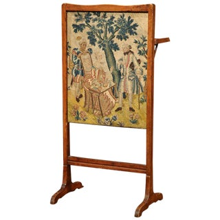 18th Century French Walnut Needlepoint Screen With Folding Tray Table For Sale