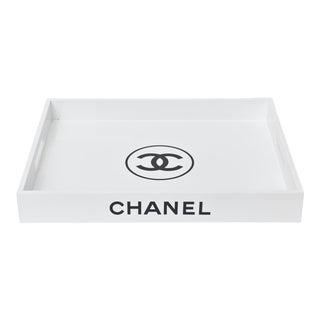 Chanel Contemporary White Lacquer Serving Tray / Barware For Sale