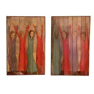 Original Paintings on Reclaimed Floorboards - a Pair For Sale