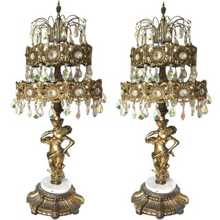 1969 Loevsky & Loevsky Waterfall Crystal Brass & Marble Table Chandeliers - a Pair For Sale
