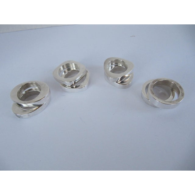 Danish Modern Modern Silverplate Napkin Rings - 8 Pieces For Sale - Image 3 of 4