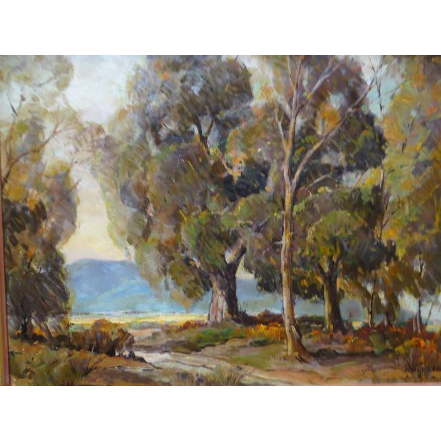 """1950s 1950s Vintage Walt Lee """"After the Rain"""" Oil on Canvas Painting For Sale - Image 5 of 9"""