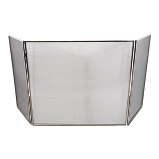 Custom Polished Nickel and Mesh Adjustable Three-Panel Fire Screen For Sale