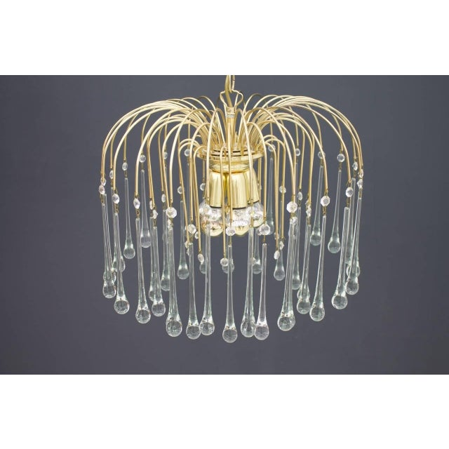 Hollywood Regency Christoph Palme Waterfall Chandelier Brass and Glass, Germany, 1970s For Sale - Image 3 of 10