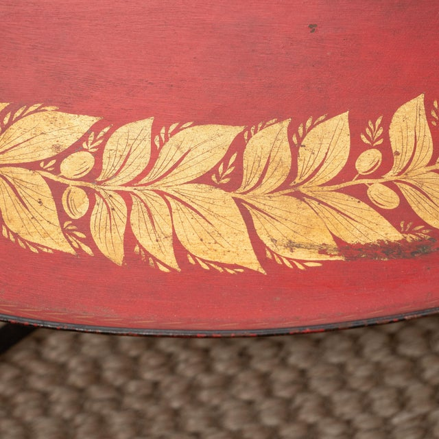 Mid-Century Modern Red Tole Table with Decorative Oval Top and X-Frame Base For Sale - Image 3 of 9
