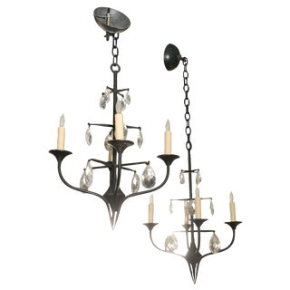 Pair of Mid-Century Erik Hoglund Iron Chandeliers For Sale