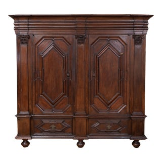 Antique Belgian Oak Carved Armoire For Sale
