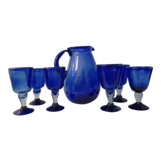 1980s Mexican Blown Glass Cobalt Pitcher & Goblets, 7 Pcs For Sale