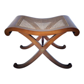 Early 20th Century Wood and Cane Curule Bench Seat For Sale