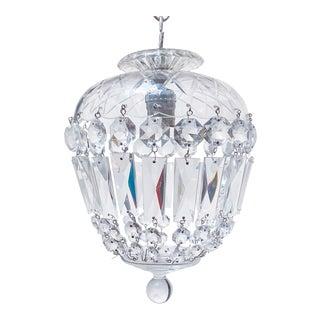 Vintage Glass Dish Basket Chandelier For Sale