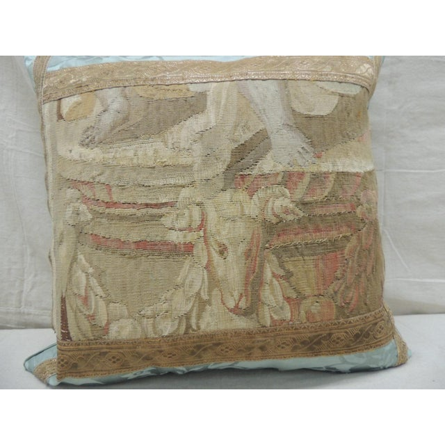 French Antique Aubusson Tapestry Square Decorative Pillow For Sale - Image 3 of 8