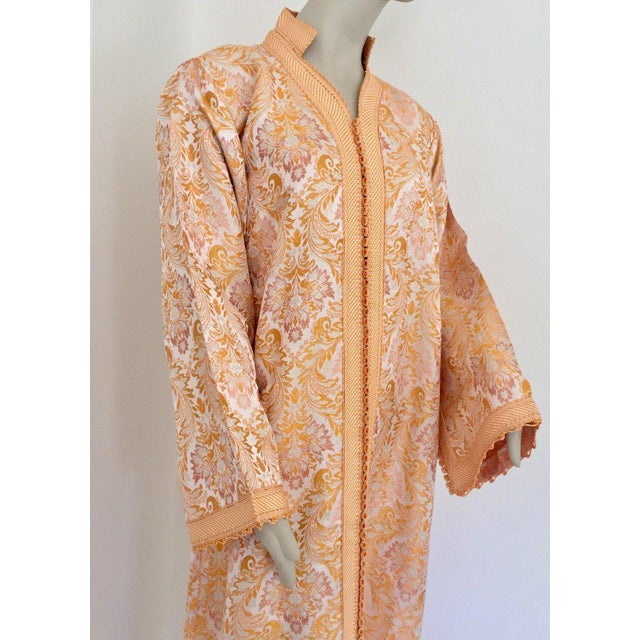Moroccan caftan in gold damask brocade maxi dress kaftan handmade by Moroccan Artist. Handcrafted vintage exotic 1970s...