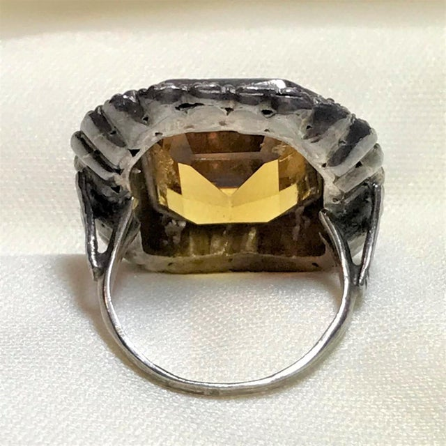 1930s 1930s Vintage Sterling, Marcasite & Faceted Glass Ring For Sale - Image 5 of 7