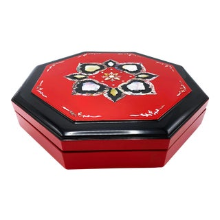 Vintage Mid Century Korean Sectioned Lacquer Box With Mother of Pearl Inlay on Lid For Sale