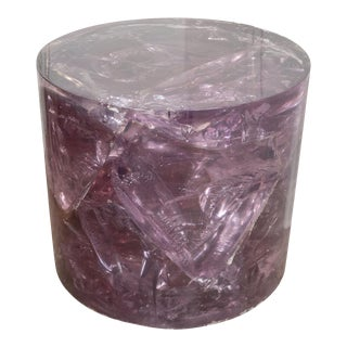 Vintage Cylindrical Purple Resin Slab Table For Sale