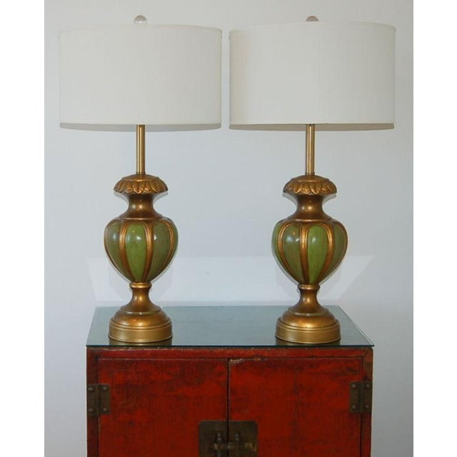 Marbro Italian Ceramic Table Lamps Green For Sale - Image 10 of 10