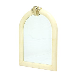 Large Arch Dome Shape Goatskin Wall Mirror For Sale