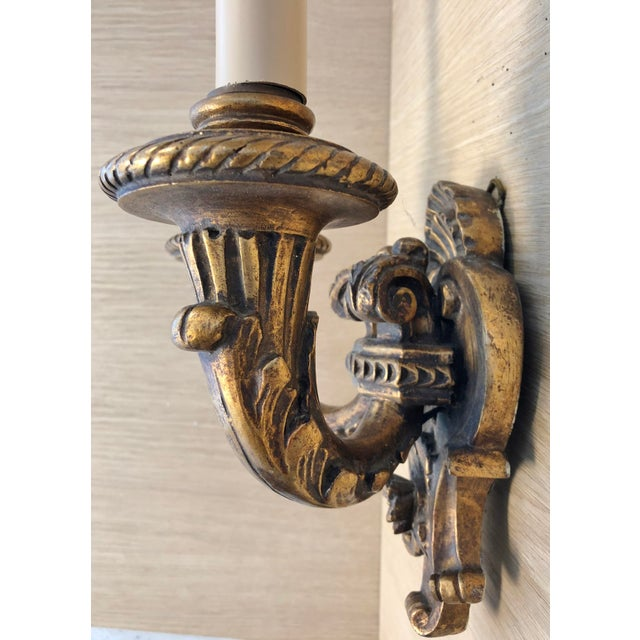1920s Traditional Wood Carved Two Arms Antique Gilded Wall Sconces - a Pair For Sale - Image 4 of 6