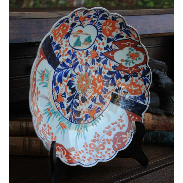 Antique 19th Century Imari Bowl Serving Dish Plate Charger Japan For Sale - Image 10 of 12