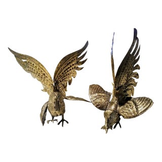 A Pair Italian Marked Brass Large Fighting Rooster Cock Statues For Sale