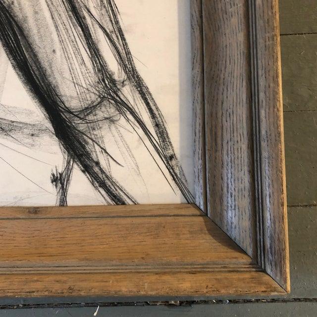 Figurative Vintage Original Charcoal Study Drawing Modernist Wood Frame 1940's For Sale - Image 3 of 5