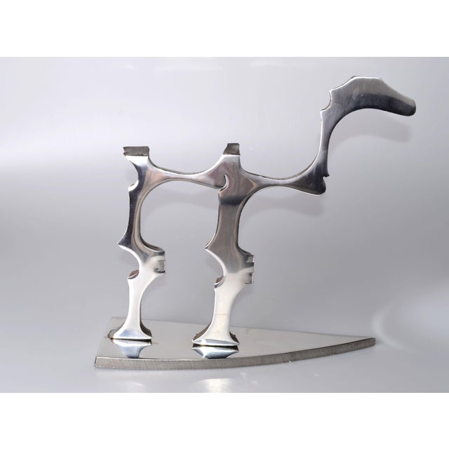 Metal Abstract Stainless Steel Dinosaur Sculpture For Sale - Image 7 of 9