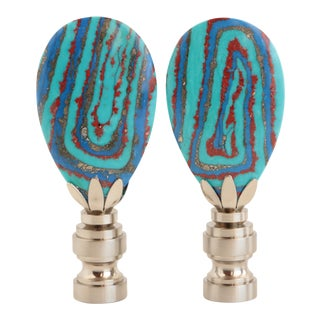Swirled Turquoise Blue Lamp Finials - a Pair For Sale