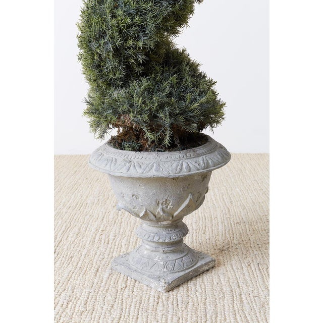 Pair of Faux Spiral Cypress Trees in Urns For Sale In San Francisco - Image 6 of 13