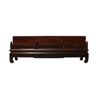 Chinese Zen Oriental Rectangular Wood Carved Incense Holder For Sale