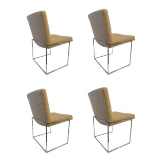"Set of Four Chrome ""Thin Line"" Dining Chairs by Milo Baughman for Thayer Coggin For Sale"