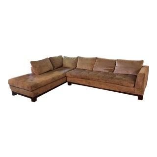 Modern Swaim Light Brown Sectional Sofa For Sale