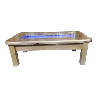 Handmade Glow in the Dark Wood Coffee Table With Glass Top