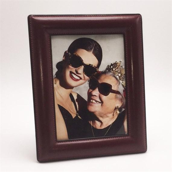 Mid-Century Modern Red Leather Gucci Picture Frame, C. 1950 For Sale - Image 3 of 3