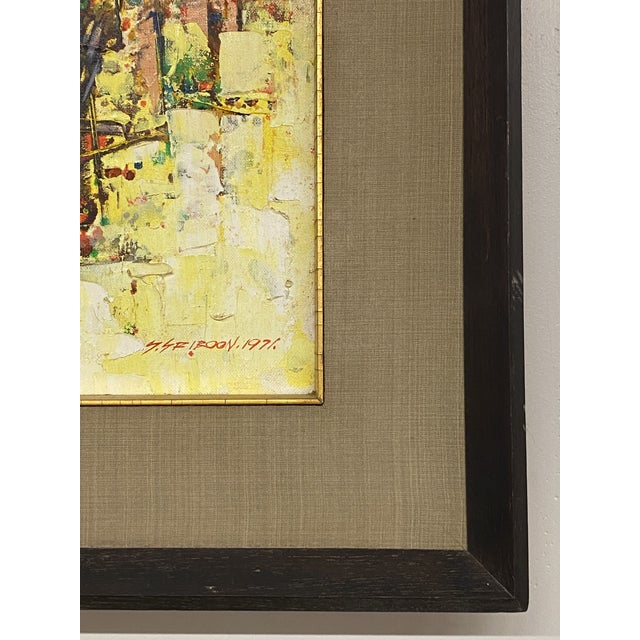 Vintage 1971 Signed Oil on Canvas Abstract Framed Art Painting Colorful For Sale In New York - Image 6 of 8