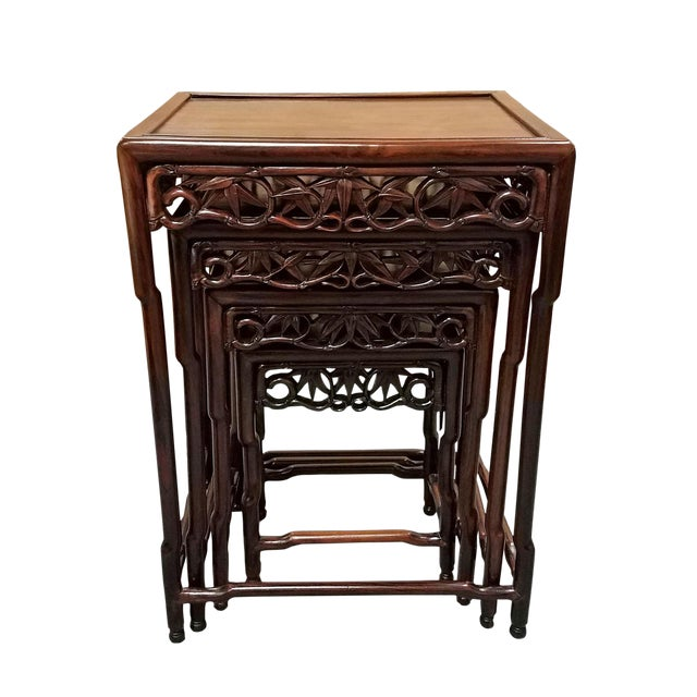 1900s Chinese Carved Hardwood Nesting Tables - Set of 4 For Sale